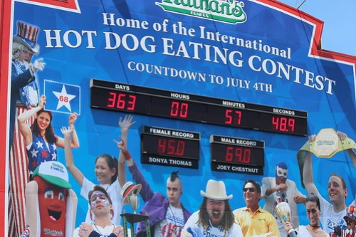 Hot Dog Eating Contest Board at Nathan's