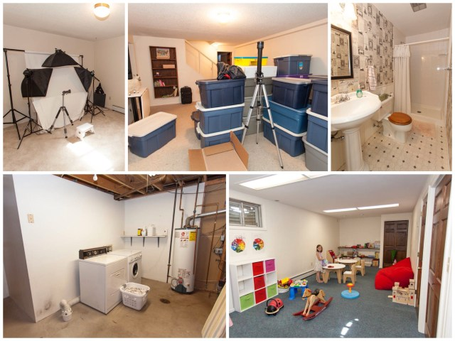"""The basement. Right now it is home to mr photography """"studio"""", lots of boxes and bins that need unpacking, another bathroom that I love, the laundry/utility room and the kids' playroom."""