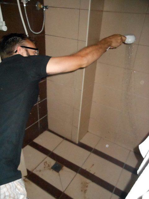 Dumaguete hotel shower in the Philippines.