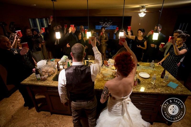 Bride, Groom, Family & Friends Cheers!