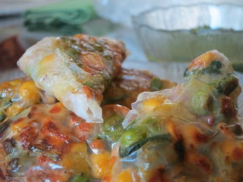 Rice paper samosas with mint chutney