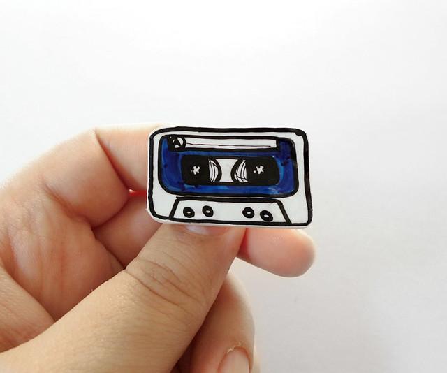 blue music cassette brooch