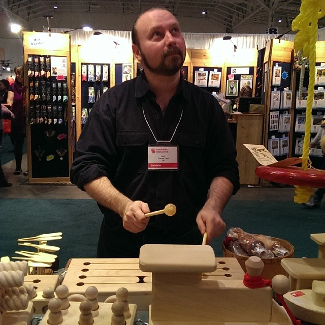 And now @ooak_toronto @gerrythorpe playing the @thorpetoys tongue drum #ooakx13