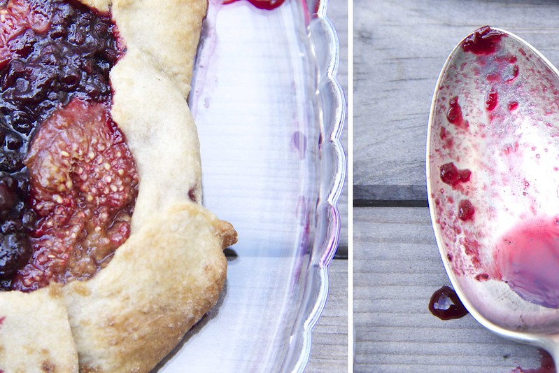 fig and blackberry galette and spoon detail