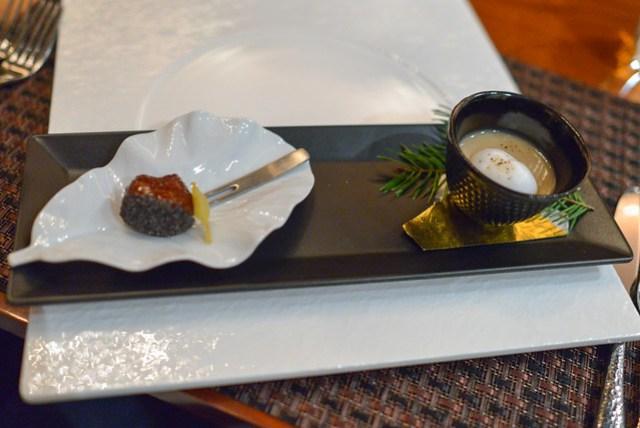 Chestnut Duo chestnut soup with milk foam and chestnut dumpling