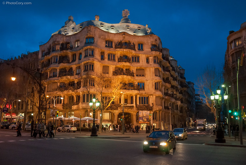 Casa Mila (La Pedrera) - a Gaudi building and architecture in Barcelona, Spain