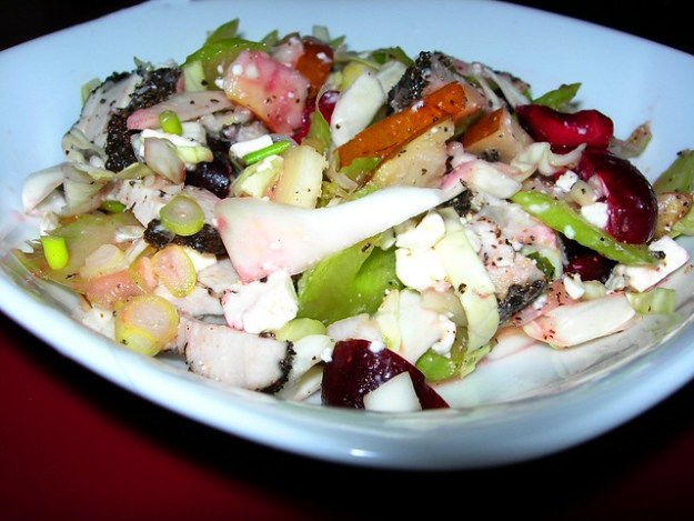 Salad with Earl Grey Pork, Pears, Cherries, Celery and Cabbage