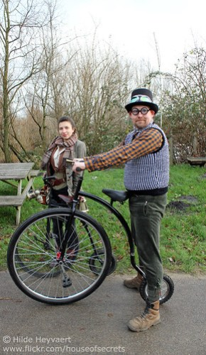 Kinga, Marco and their penny farthings