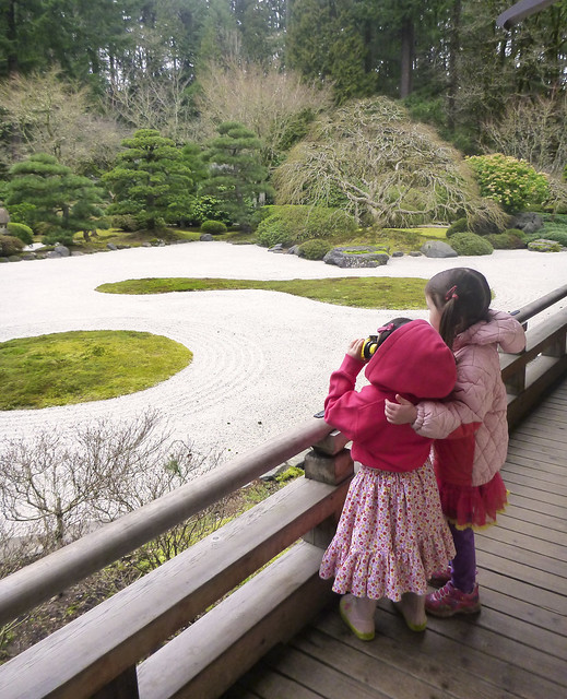 Girls at Japanese Garden, Portland, OR