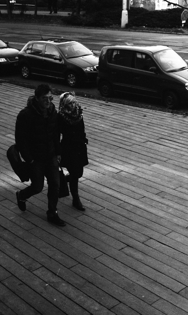 Kiev 4 + Helios 103 - Walking Couple in front of the City Library