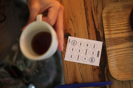 Playing the Cuppings coffee tasting game at The Village