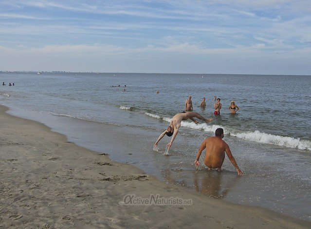 naturist 0000 gymnastics @ Gunnison Beach, Sandy Hook, NJ, USA