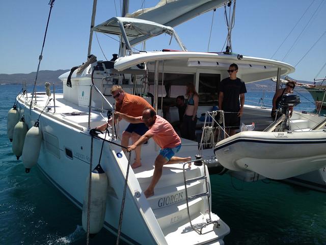 Mooring at Adamas port on Milos