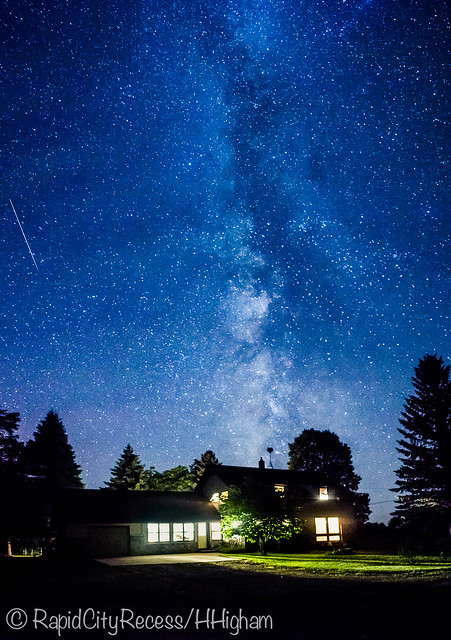 meteor and milky way
