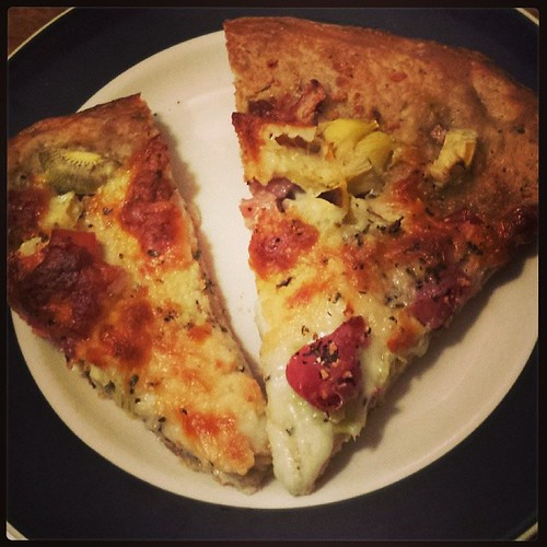 Prosciutto and Artichoke Heart Pizza. #foodie #ieatthereforeiam #fallmenu by Jennifer O'Connell