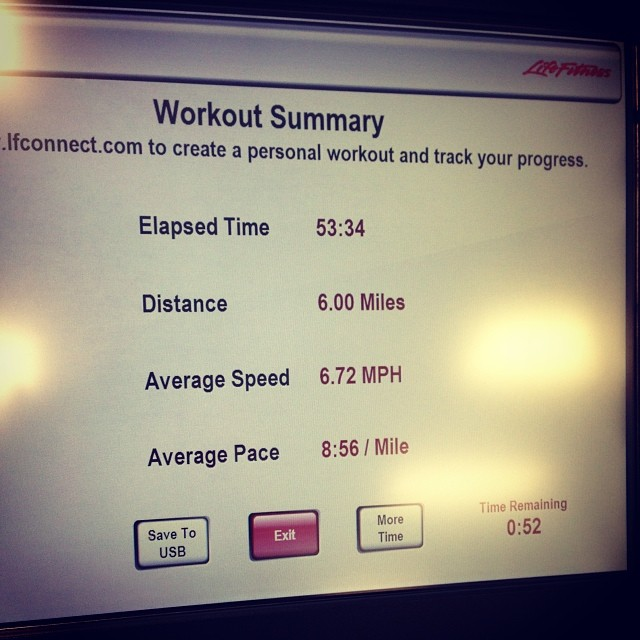 Trying to build up my treadmill tolerance. I have a feeling I'll be putting a lot of miles on it for marathon training this summer.