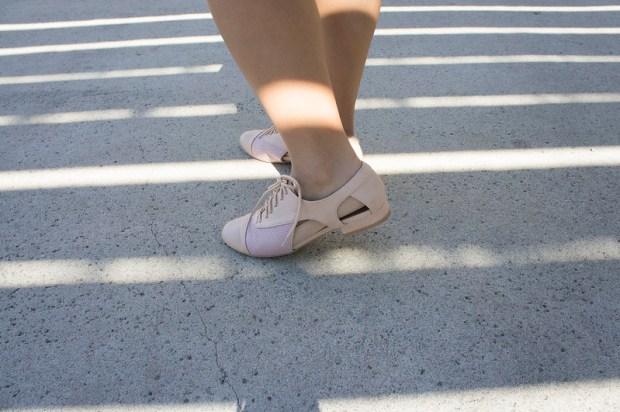 cut out blush shoes