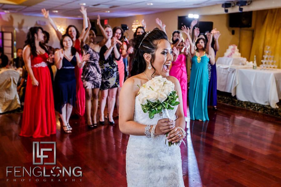 Cambodian bride tosses her bouquet