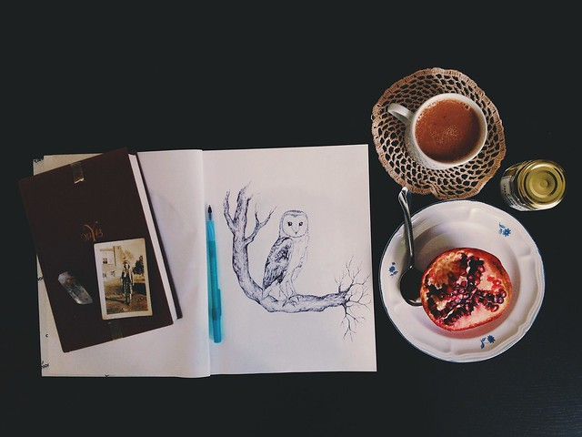 old books and pomegranates