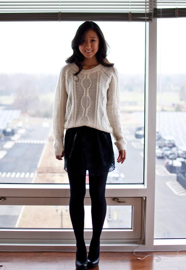 hm, hm sweater, ivory sweater, chunky sweater, black dress, little black dress, lace dress, black pumps, monochrome, personal style, fall fashion
