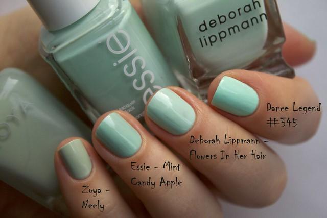 14 Deborah Lippmann Flowers In Her Hair comparison Zoya Neely, Essie Mint Candy Apple, Dance Legend 345