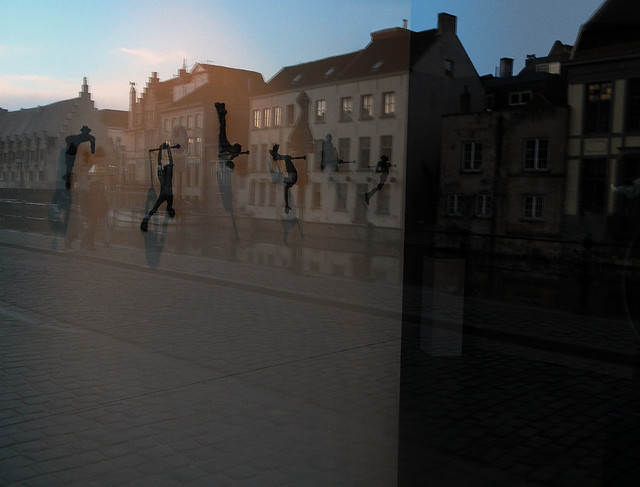 Reflection in the window of Belgian art gallery