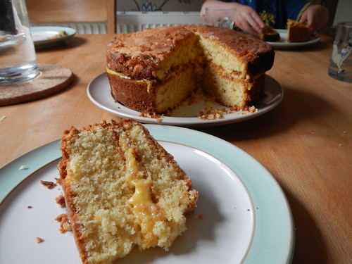 Mango curd and lime drizzle cake
