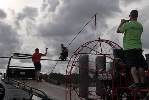 Nik Wallenda Trains for June 23, 2013 Grand Canyon Walk with Two Airboat Fans at Nathan Benderson Park, Sarasota, Fla., June 14, 2013