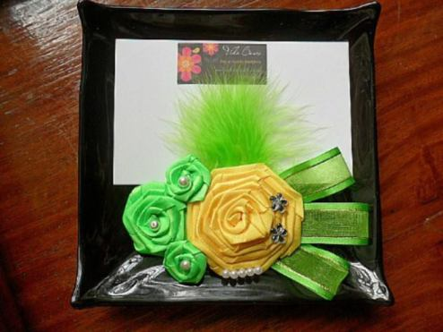 Vida Bows in Green and Yellow