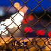 Mass Pike Bokeh through Chain Link, Blue Hour in Allston Neighborhood of Boston