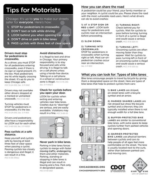 Tips for Motorists - side by side