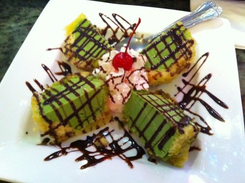 Deep fried green tea ice cream