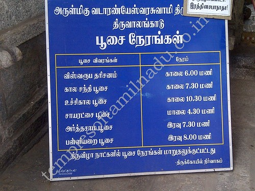 Temple Timings, Vada Aranyeswarar Temple, Thiruvalangadu