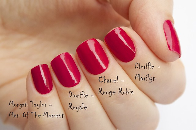 02 Comparison Morgan Taylor Man Of The Moment, Dior Diorific Royale, Marilyn, Chanel Rouge Rubis