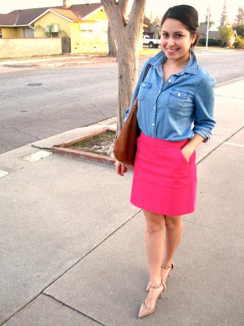 Chambray shirt and pink skirt