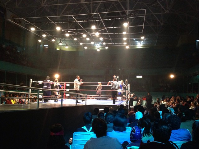 The female wrestlers are in the ring