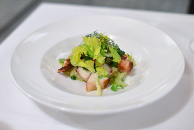Piastra Roasted Octopus olive oil crushed potatoes, celery heart, salsa verde