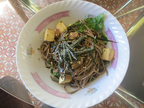 Soba noodle with chive, parsley and miso pistou