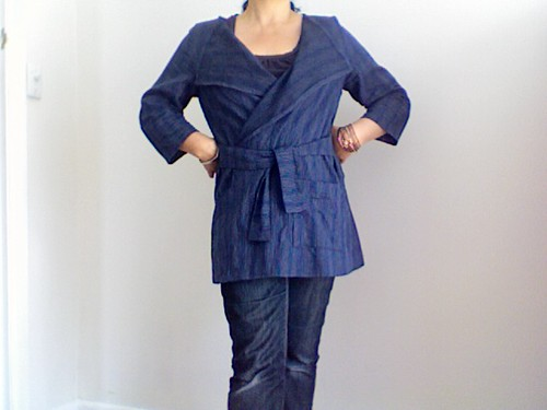 blue linen jacket with ties