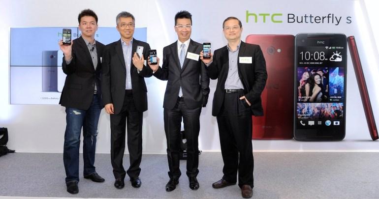 HTC北亞區產品市場部經理劉義中(左一)、3香港助理總經理伍志明(左二)、香港電訊無線業務市場營銷總裁林國誠(右二),與HTC北亞區總經理董俊良(右一)今(4)日共同宣布推出HTC Butterfly s,以完美細緻的時尚設計與精湛出色的絕佳效能,為消費者打造精彩行動娛樂生活。