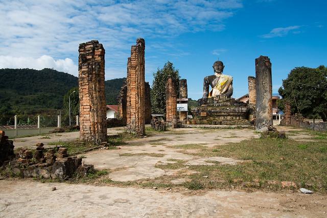 damanged temple, Phon Savanh, Laos