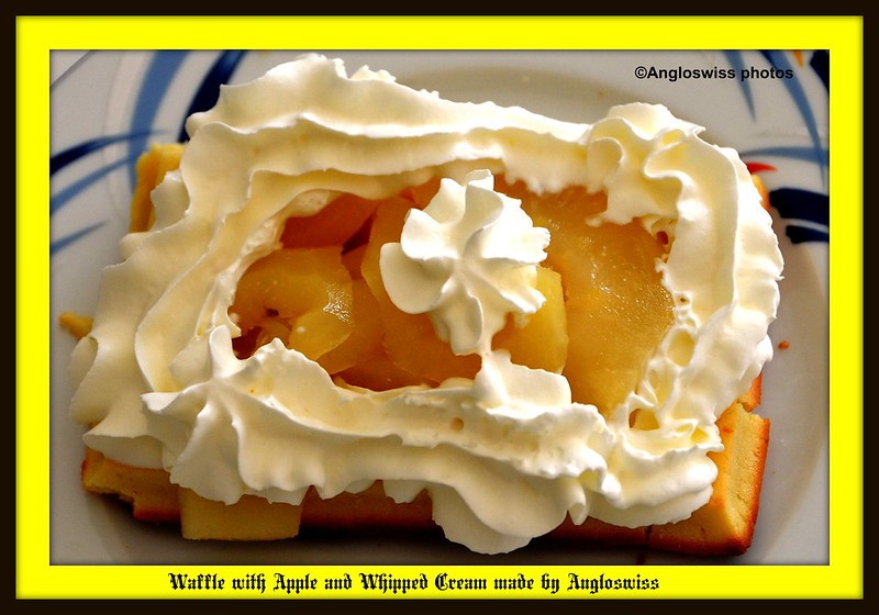Waffles with apples and cream