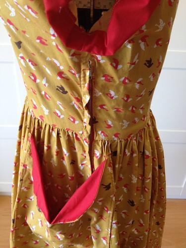 mustard bird dress pocket & side zip