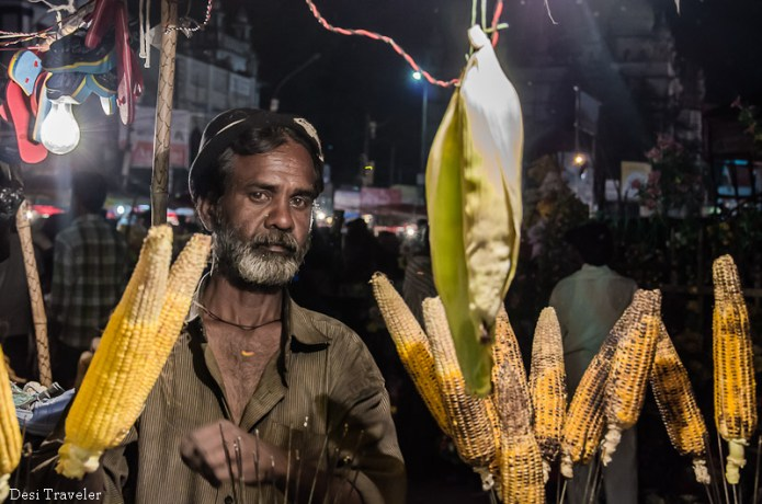 bhutta corn on the cob made on flames of charcoal