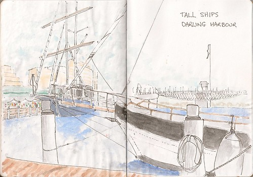 Tall ships Darling Harbour by Lionel G King