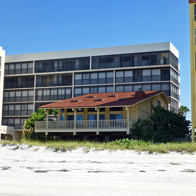 Sep 27 - WTF? {a tiny beach house surrounded by tall condos/hotels!} #fmsphotoaday #beach #house #florida #gulfofmexico