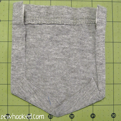 Make a pocket for workout pant from an old tee.