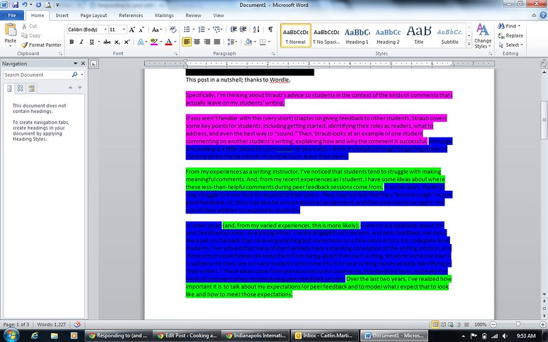 highlighting screen shot