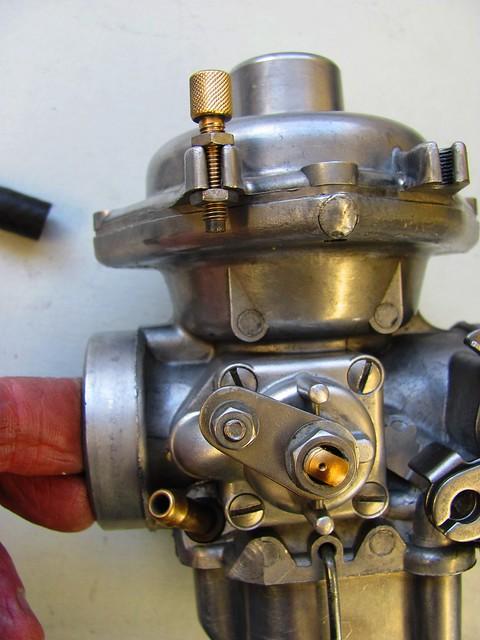 Back Side of Carburetor Showing Coke Cable Nipple Installation