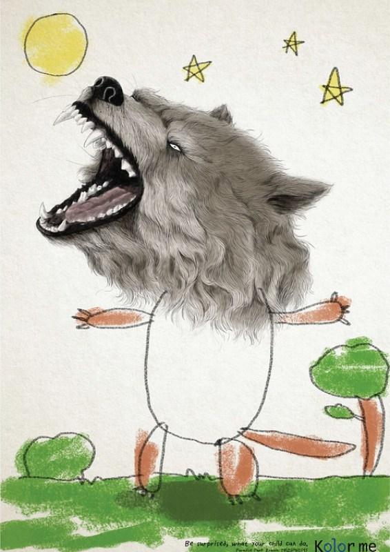 Kolor Me School - Wolf